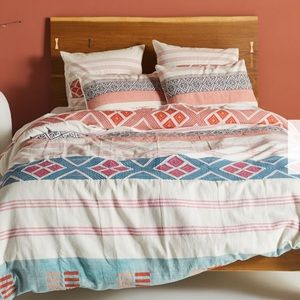ANTHROPOLOGIE Woven Rosewood Duvet Cover-King Size